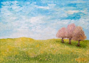 Three trees in the field
