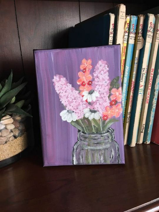 Lavender Mason Jar Painting - AmberMadeDesigns