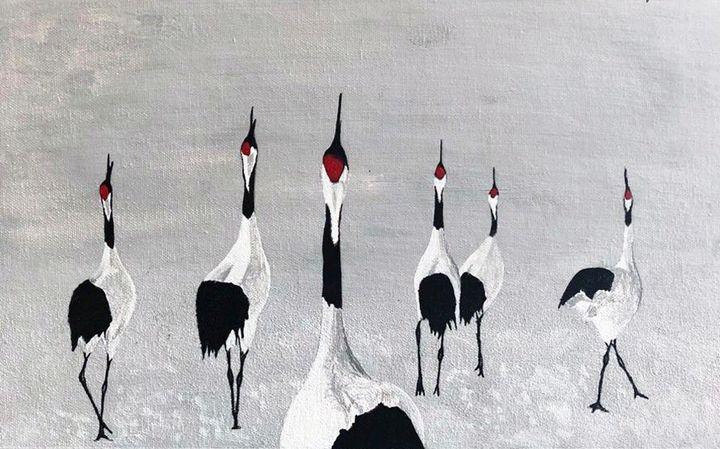 Red Crowned Crane In Snow - MBhuva
