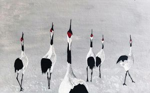 Red Crowned Crane In Snow