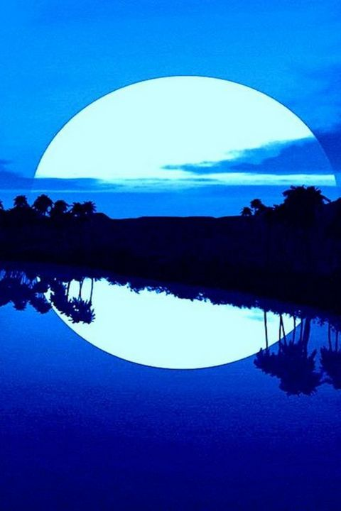 Beautiful Blue Moon Over The Islands - RichArts