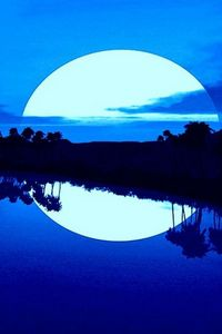 Beautiful Blue Moon Over The Islands