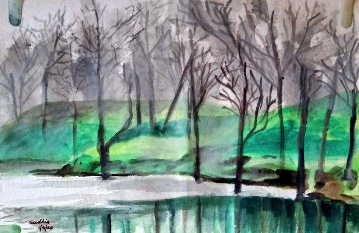 Pond in the fog - Sudhir