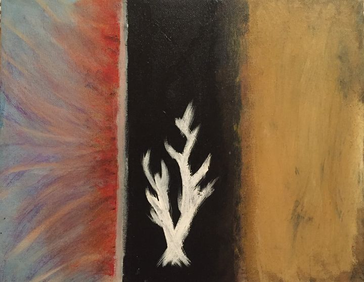 Lord of the Rings White Tree inspired abstrect painting