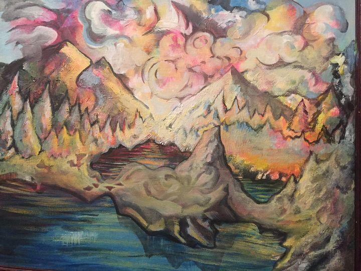 lake found inside the underground - Kyle Kigston Art