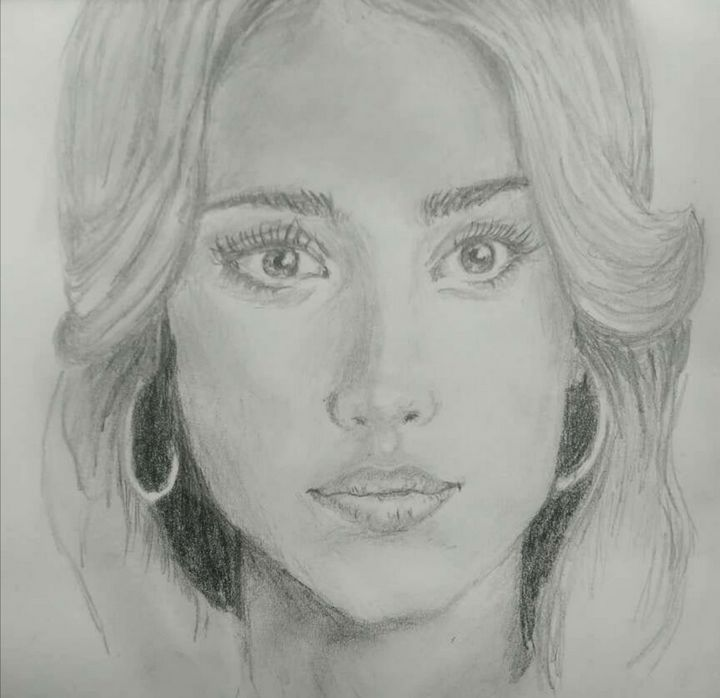Jessica Alba Pencil Portrait - Marina