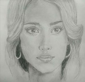 Jessica Alba Pencil Portrait