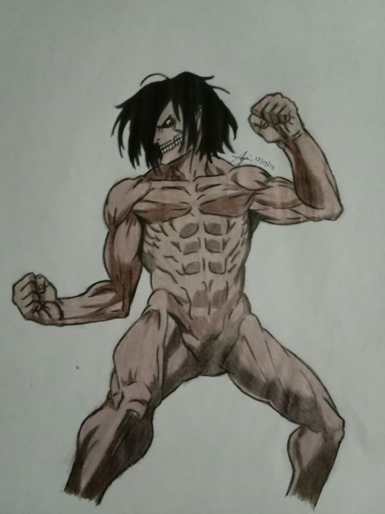 Eren In Titan Form Dabi Drawings Illustration