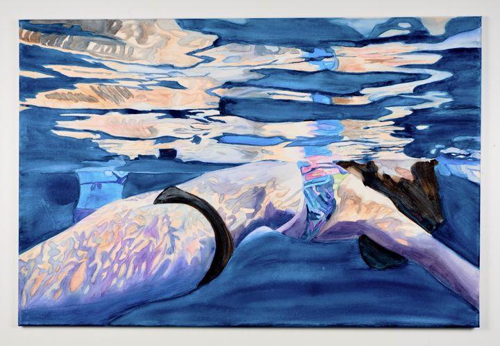 watercolor swimmer - Mypureart