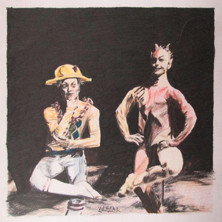 Devil and Harlequin dancing - Nicholas Ganz