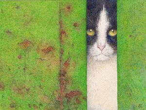 Lonely cat watercolor by Irshi
