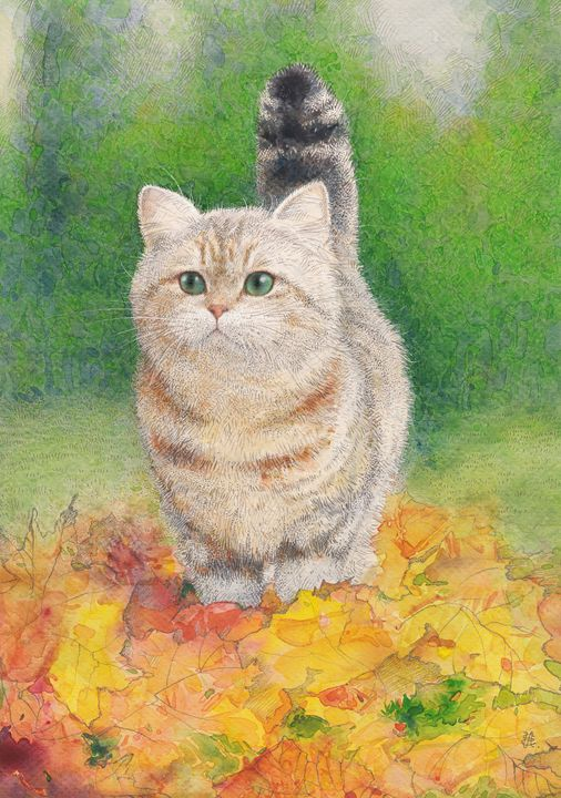 Autumn cat - Irshi watercolors