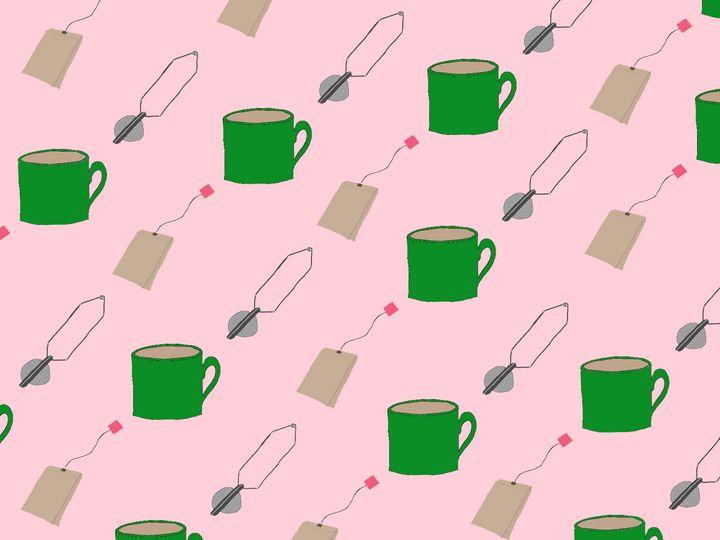 Pink tea themed pattern - Alizzi Illustration