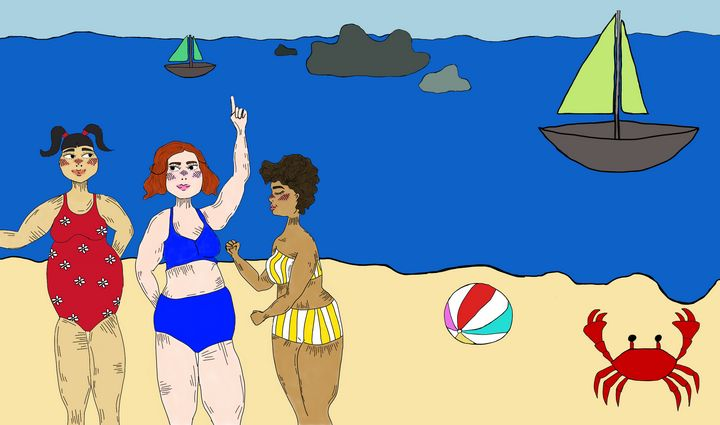 Jolly ladies at the beach - Alizzi Illustration