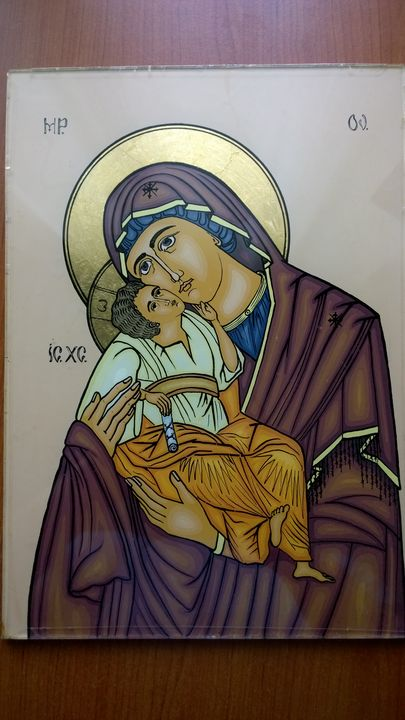 Mother of God with Child - Paintings of Byzantine icons on glass - Eugen