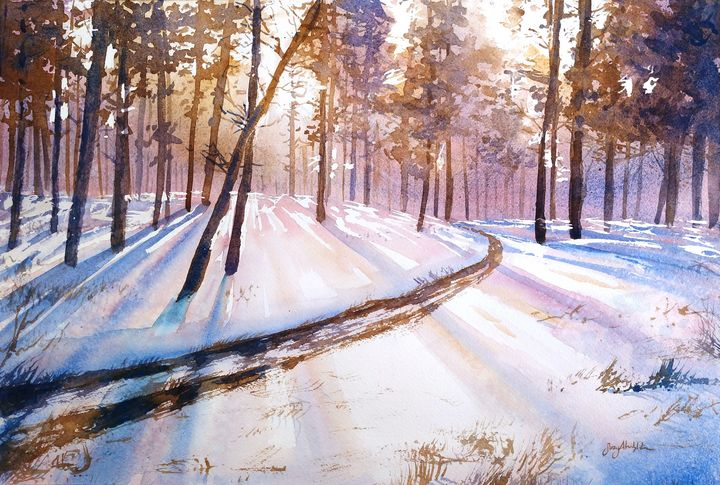 Winter Forest Trail - Suzys Art