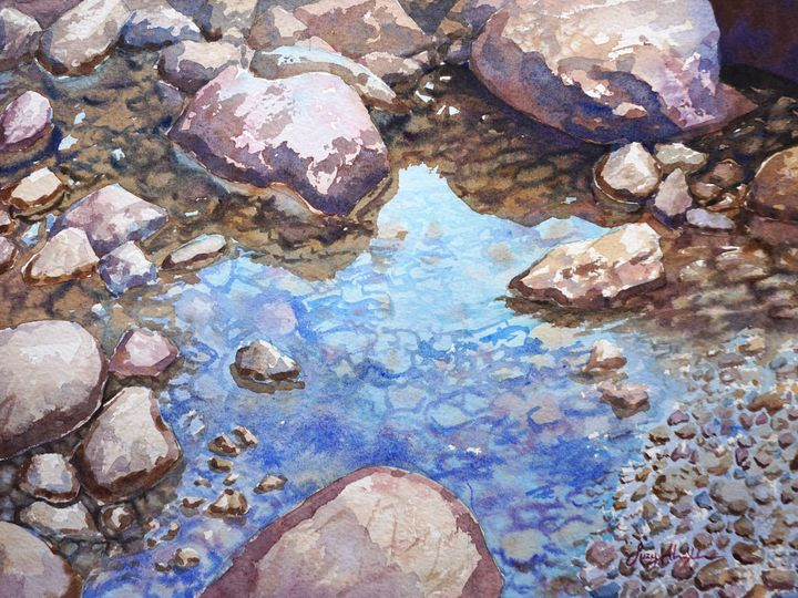 River Stones and Reflections - Suzys Art