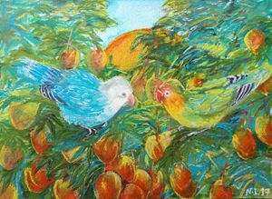Lovebirds on Mangoes Tree