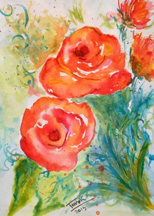 Red Flower - Tarek El Adley Art