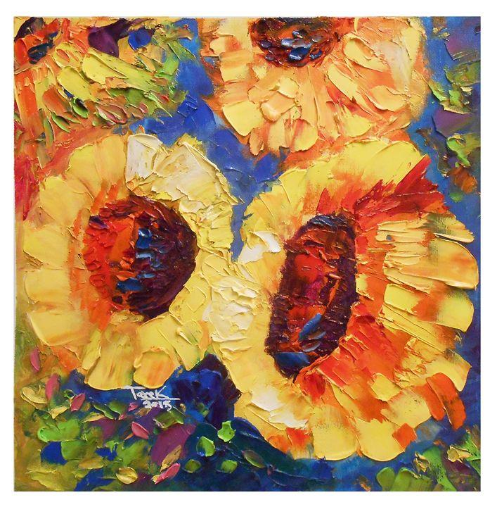 Sunflowers Abstract set-01 - Tarek El Adley Art