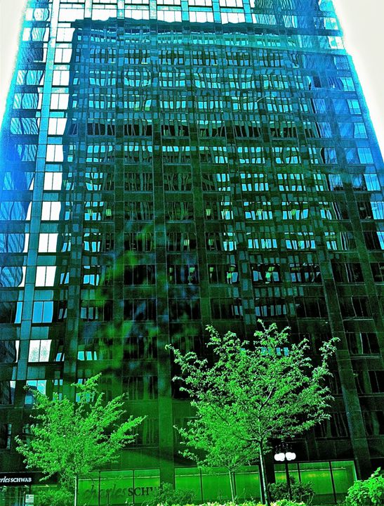 FLUID BLUE IN GREEN SKYSCRAPER - Tirzah Fujii