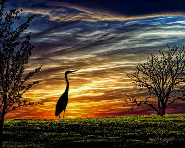 Heron on the Hill - Restless D Graphics
