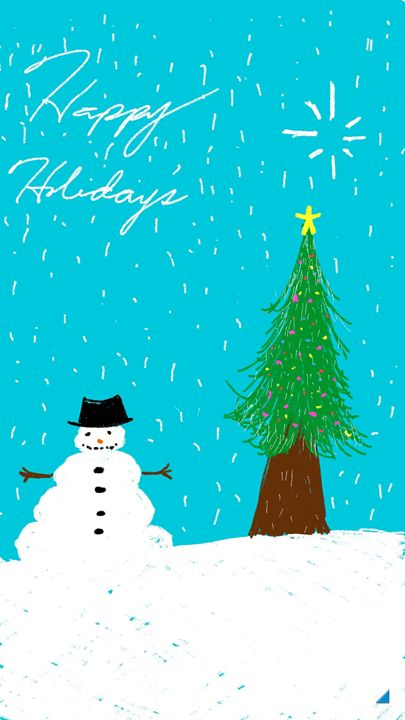 Holiday card (snowman) - pieces sketched by mouth