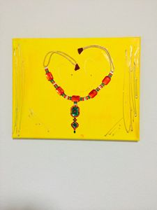 Jewelry art painting canvas necklace