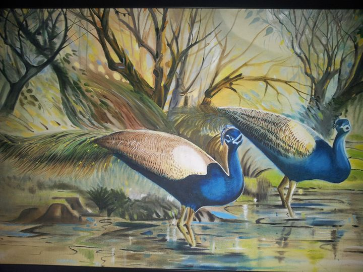 Peacocks oil painting on - Veena Pujari