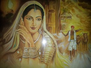 Rajasthani oil Painting on canvas