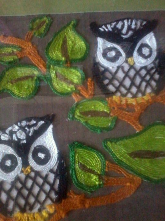 owl pair - glue and thread