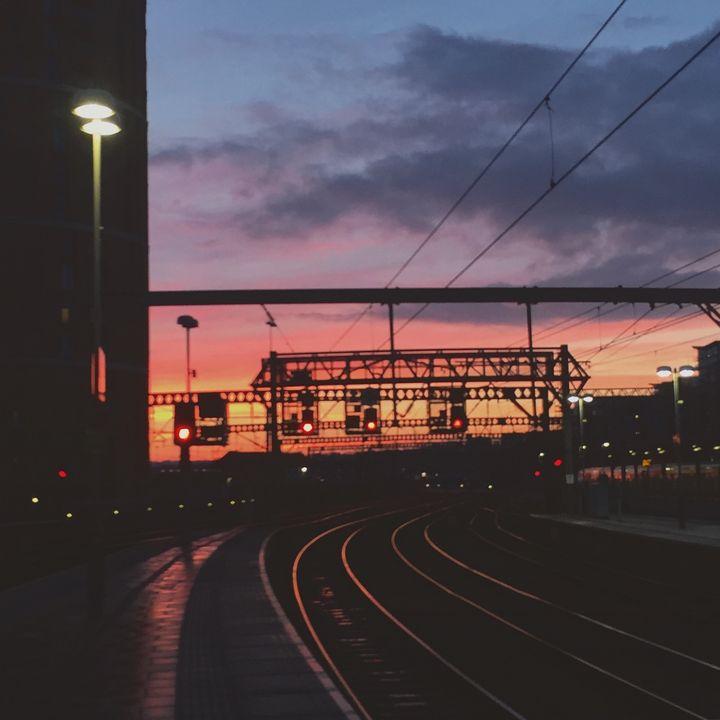 Railway at sunset - pa.tea