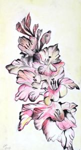 mixed media Gladiolus - Gregory li