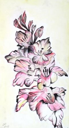 mixed media Gladiolus - Gregory li