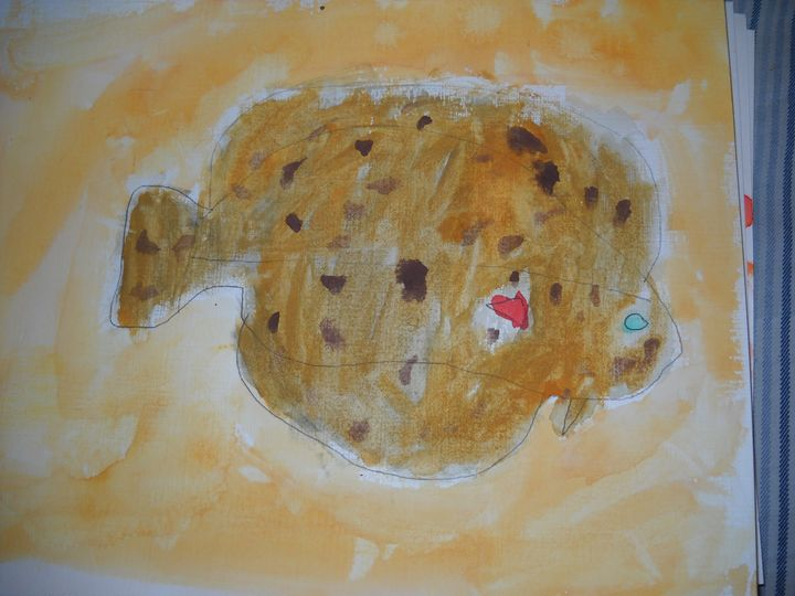 Flounder in the Sand - Bryanna's Autism art