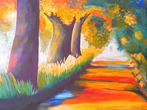 Painting Of a Village Pathway