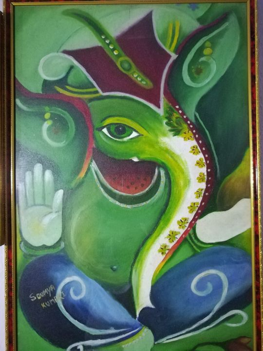 Oil paint of Lord ganesha - Soumya