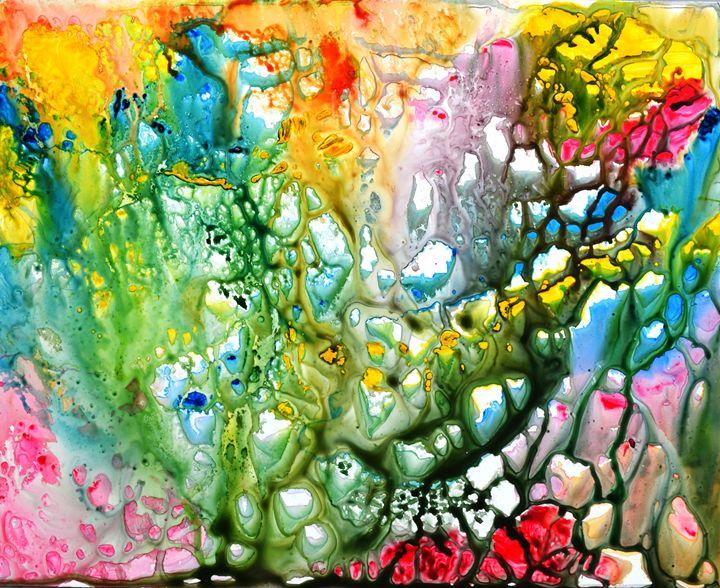 The Coral abstract painting- Colorfu - artbymanjiri