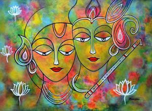 Radha Krishn Holi abstract colorful