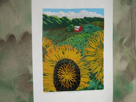 Sunflower Farm, 2014 - Napping Cat Press Woodcut Prints