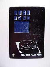 Napping Cat Press Woodcut Prints