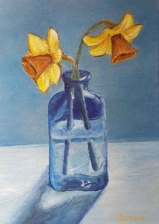 Yellow daffodils in a blue vase - OlgaDVisualCreations
