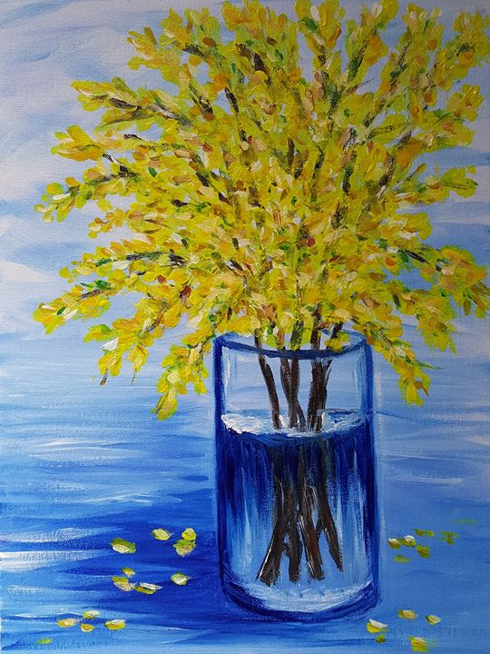 Blooming forsythia in a blue vase - OlgaDVisualCreations