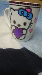 Hello kitty hand painted ceramic mug