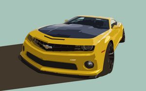 Yellow Camaro Car