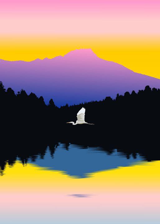 Colorful Nature with Heron - Zelko Radic Bfvrp