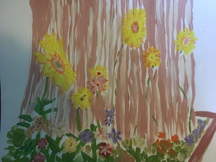 Flowers on Fence - Melody K Kiser