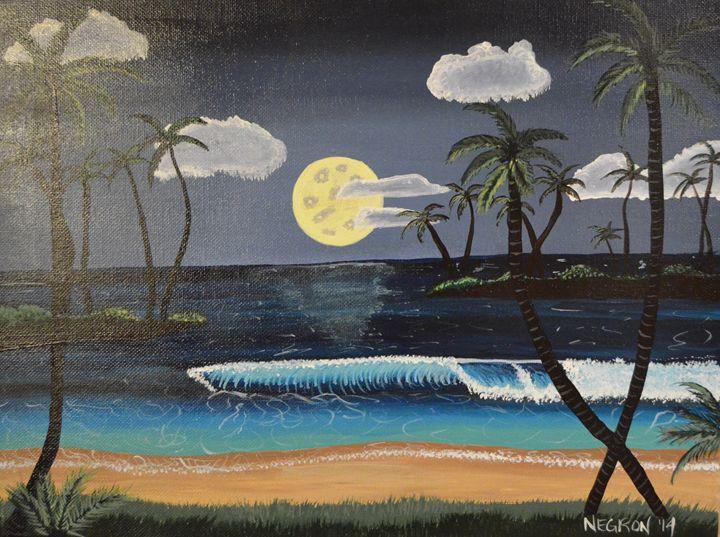 Tropical Beach Night - Her Artwork From The Desert