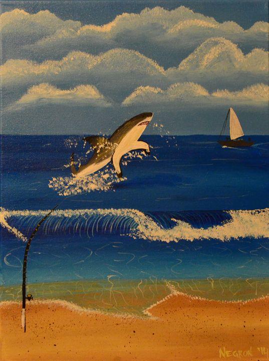 Shark Fishing - Her Artwork From The Desert
