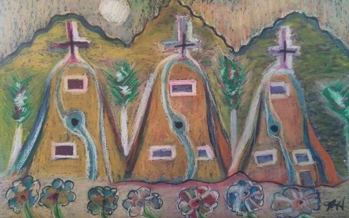 Three Church Adobe Oil Pastel (SOLD) - Hastick Gallery